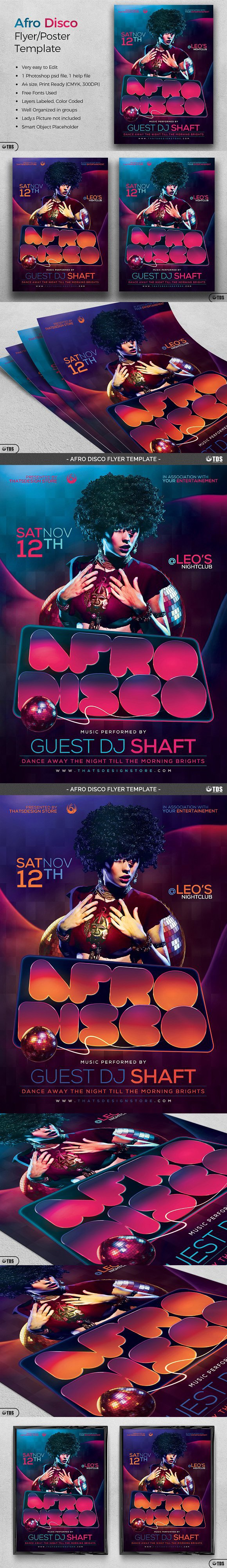 Afro Disco Flyer Template Flyer Templates  Flyer Templates