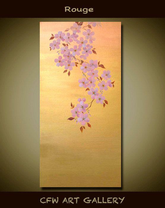 Flower, Art, Painting, mixed medium painting, Original cherry ...