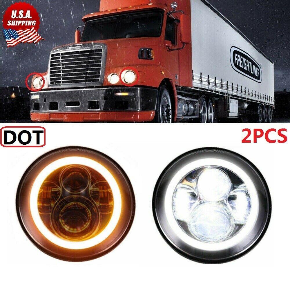 Ebay Sponsored 2x 120w 7inch Round Led Headlight Hi Lo Halo Drl For Freightliner Century Class Freightliner Led Headlights Freightliner Classic