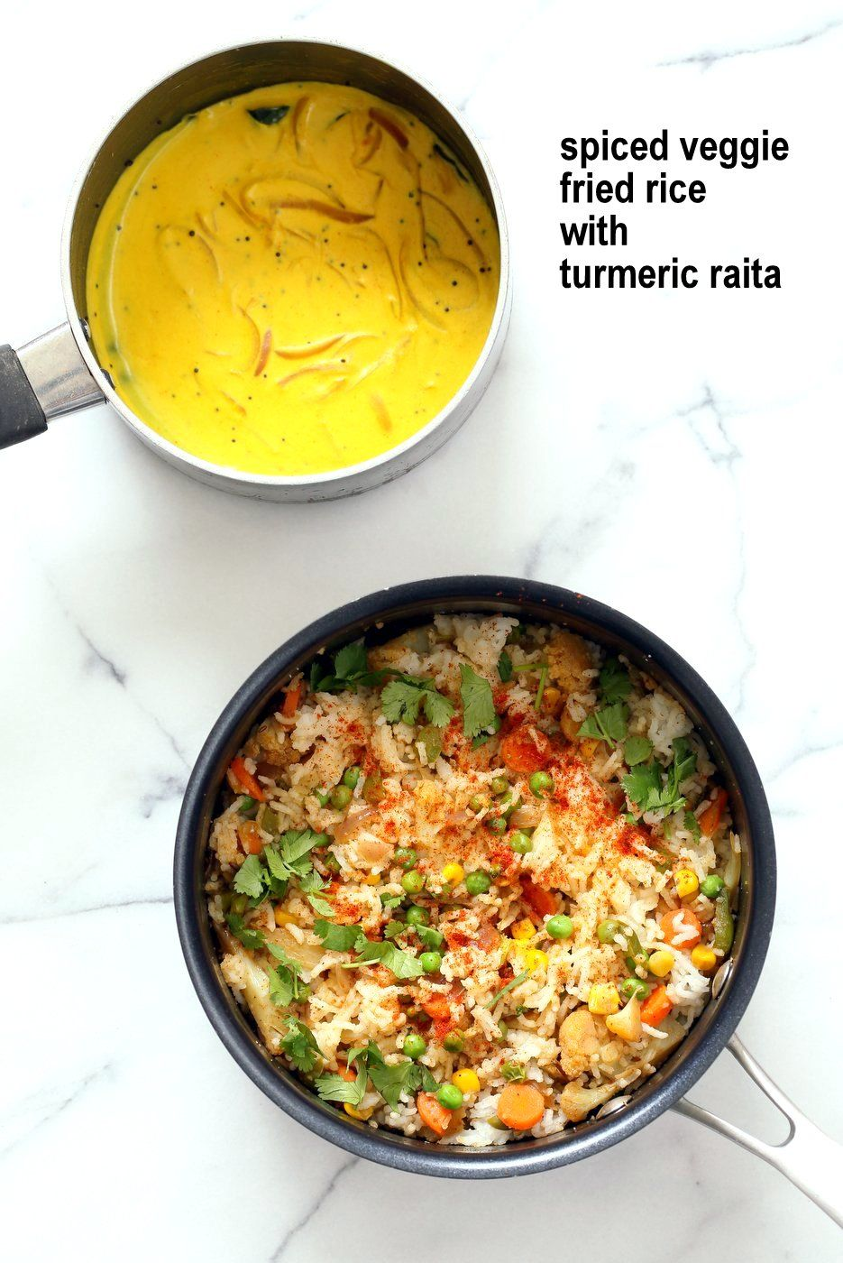 Masala Fried Rice With Turmeric Onion Raita