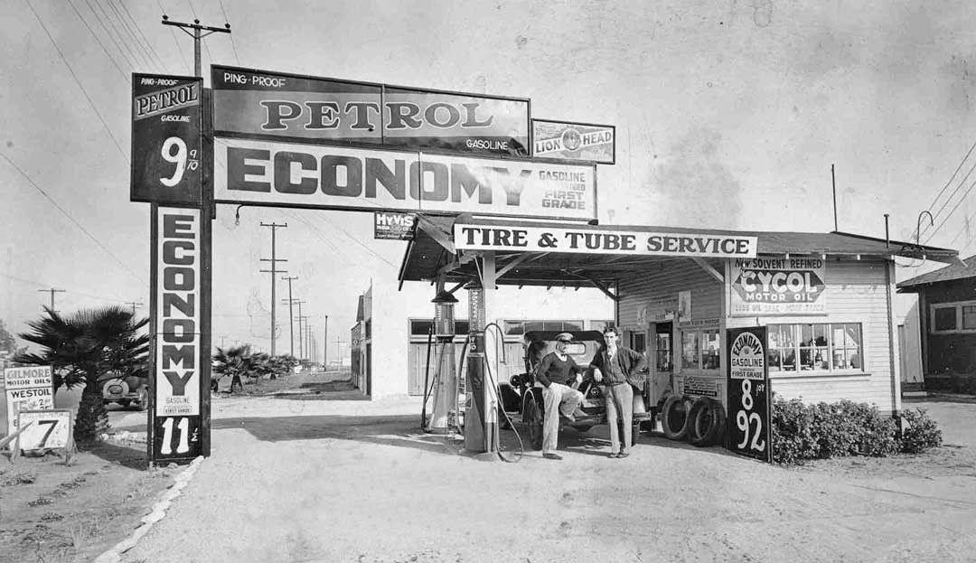 1920s Ecomomy Gas Station Vermont Ave Los Angeles Old