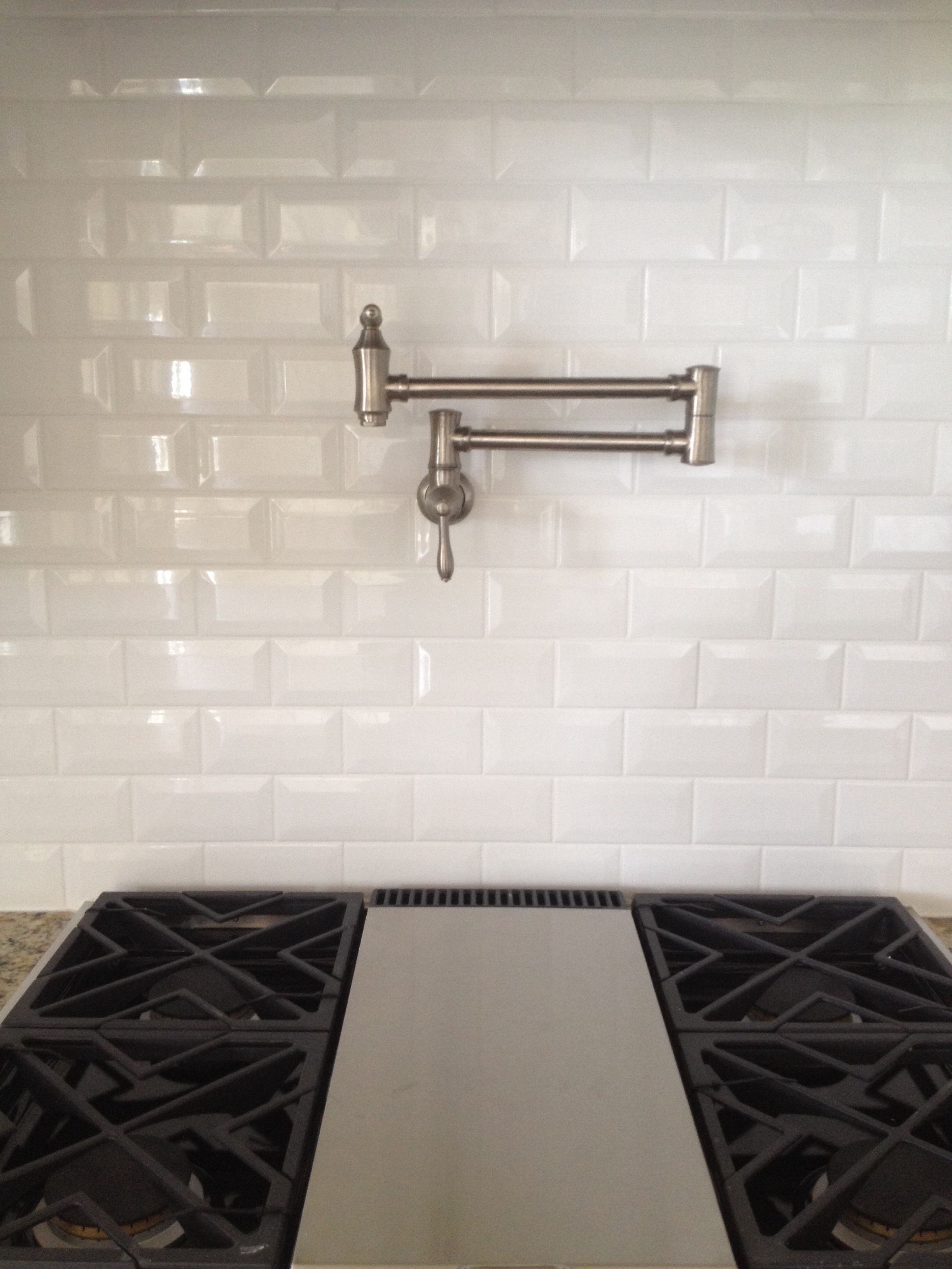 Dal tile ritten house bevel subway 3x6 arctic white glossy grout bright white