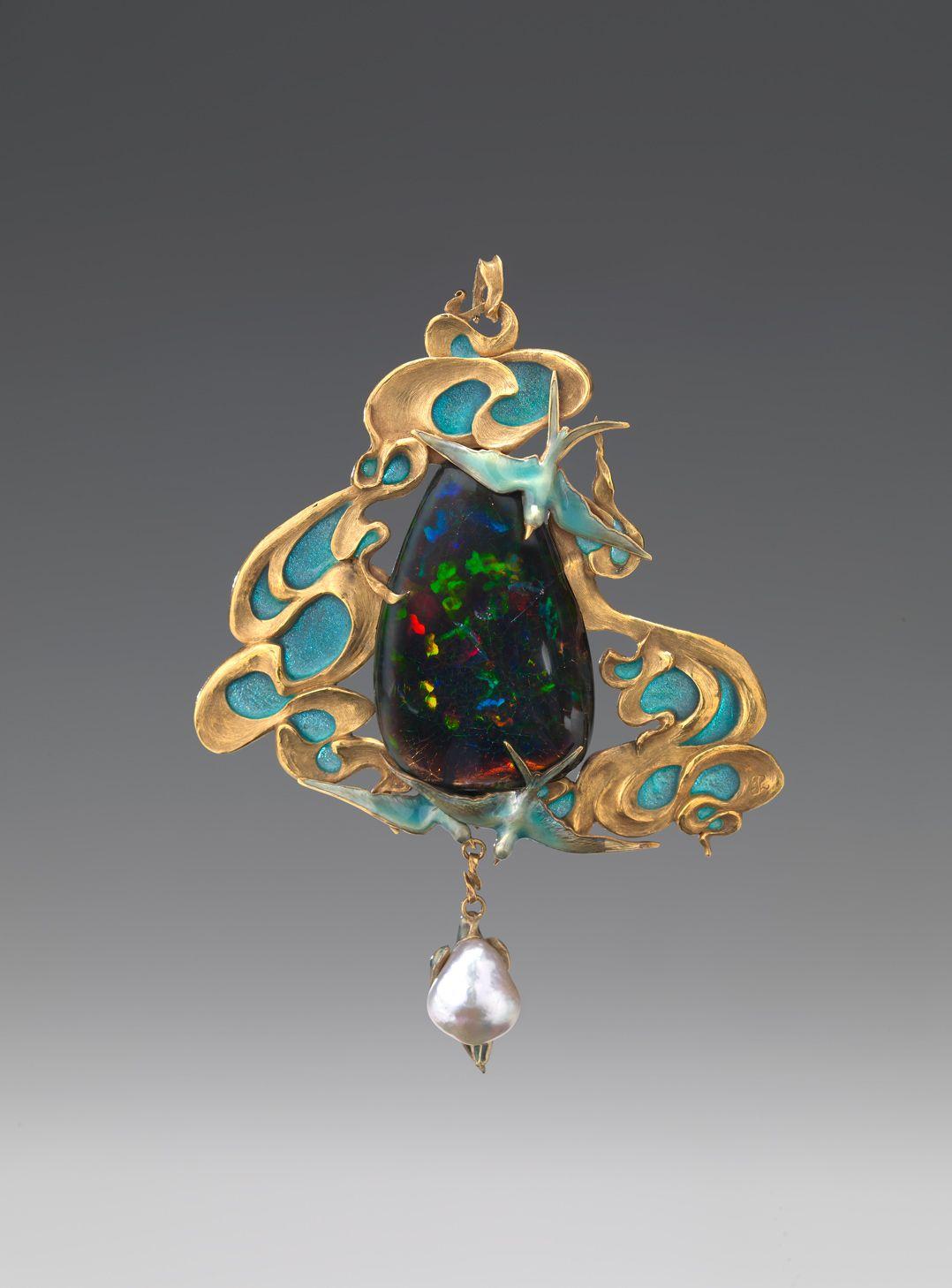 Opal, gold, enamel, pearl pendant, French, circa 1900 I'm ...