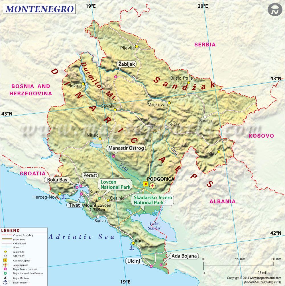 Montenegro Map Montenegro Map