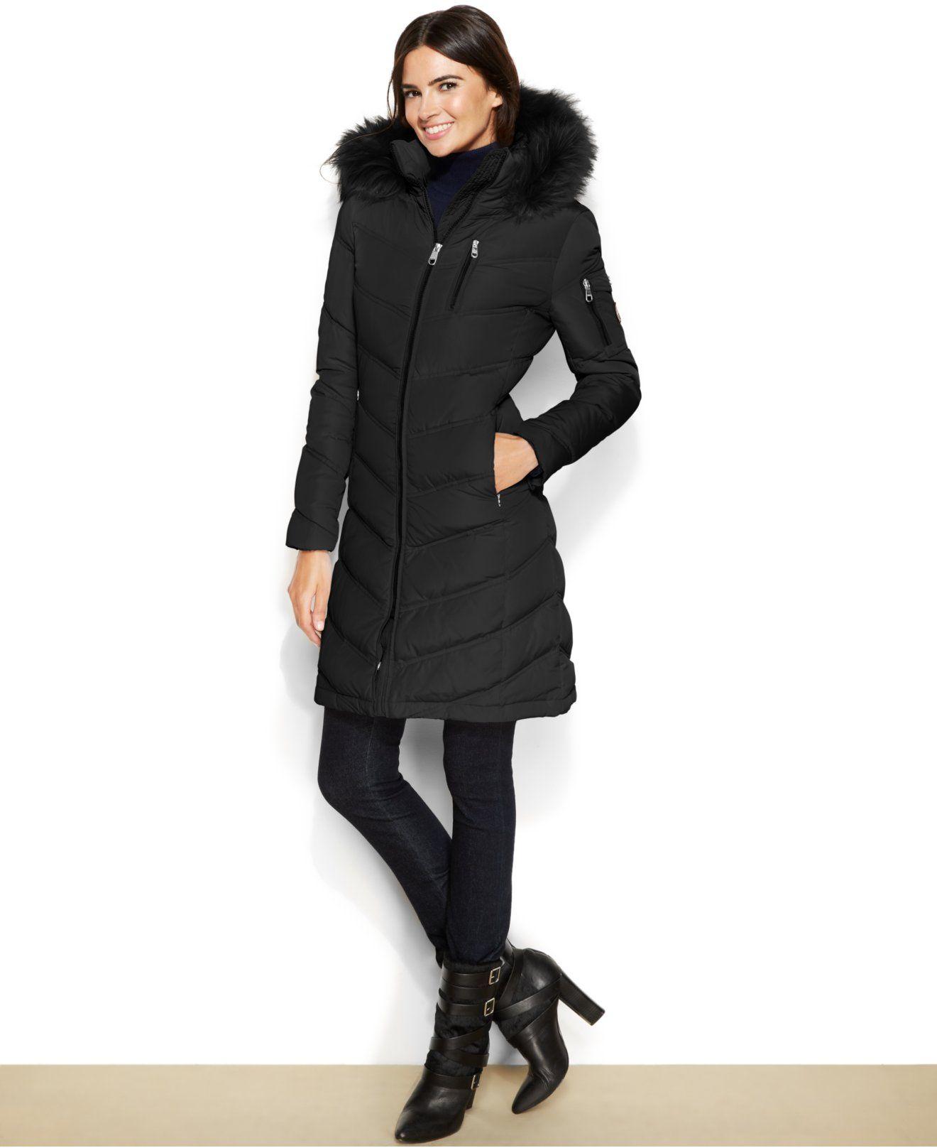 c09d8561d8 Calvin Klein Faux-Fur-Trimmed Hooded Down Coat - Coats - Women - Macy's