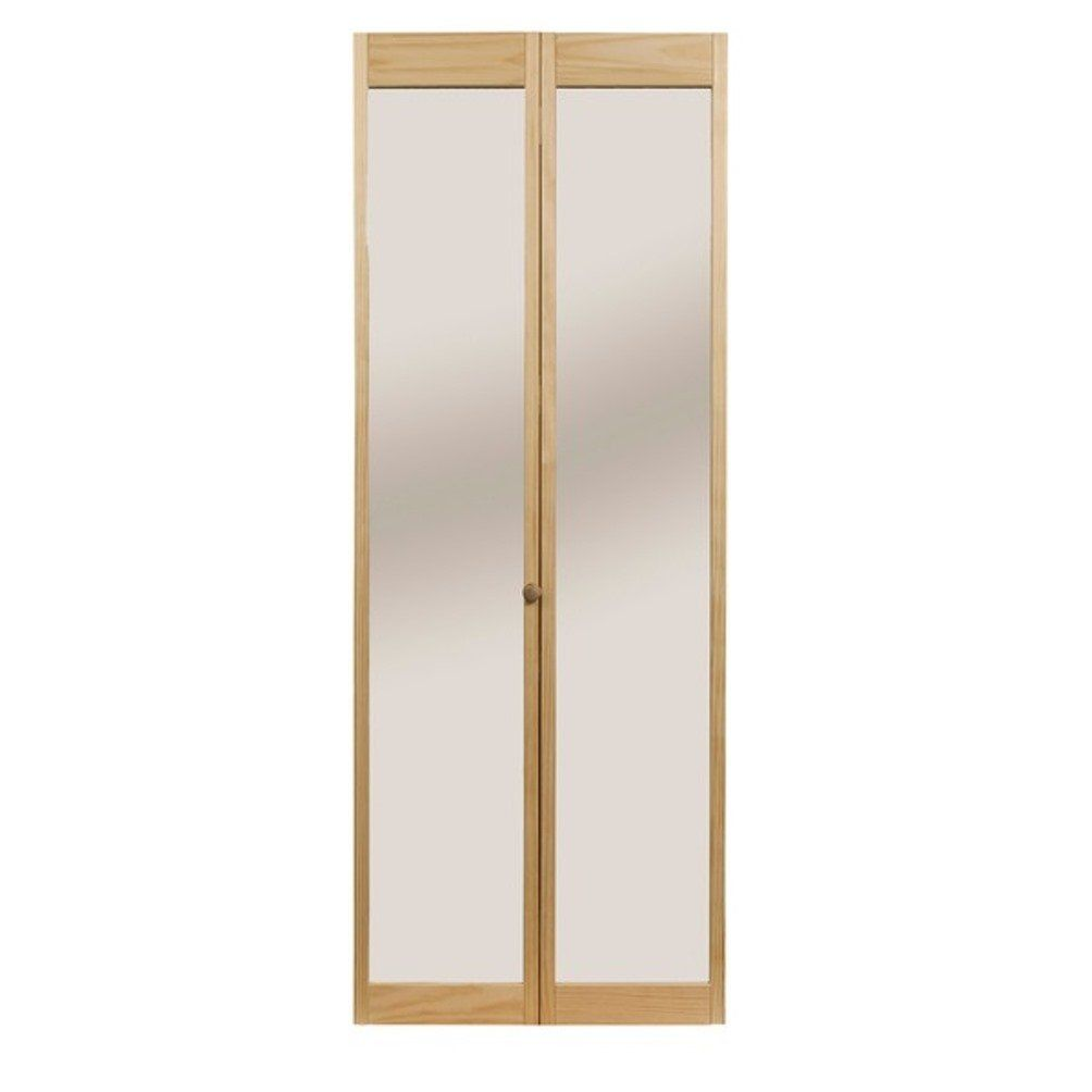 Pinecroft 890726 Traditonal Mirror Bifold Interior Wood Door 30 X 80 Unfinished Wood Doors Interior Bifold Door Hardware Bifold Doors