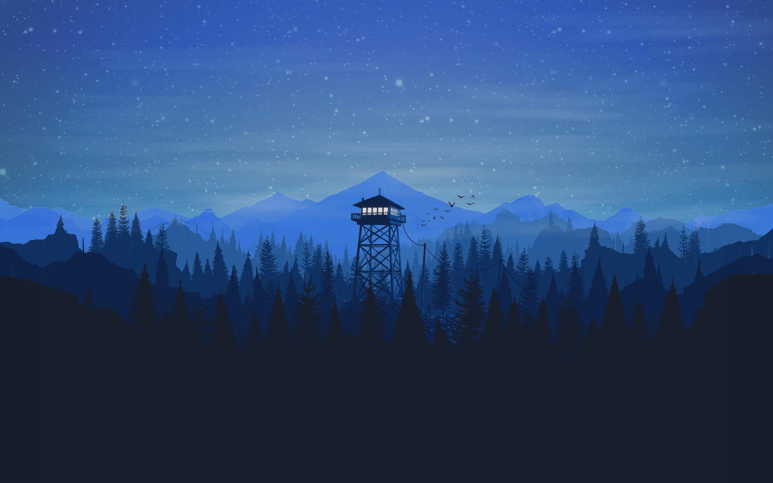 Blue Firewatch 2560x1600 Desktop Wallpaper Art Art Wallpaper Dark Wallpaper