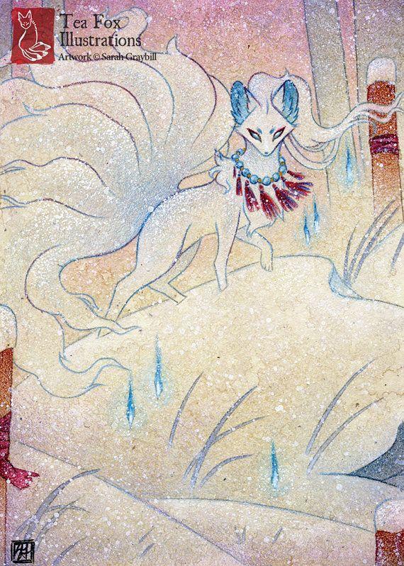 Alolan Ninetales / Fox Kitsune Yokai / von TeaFoxIllustrations