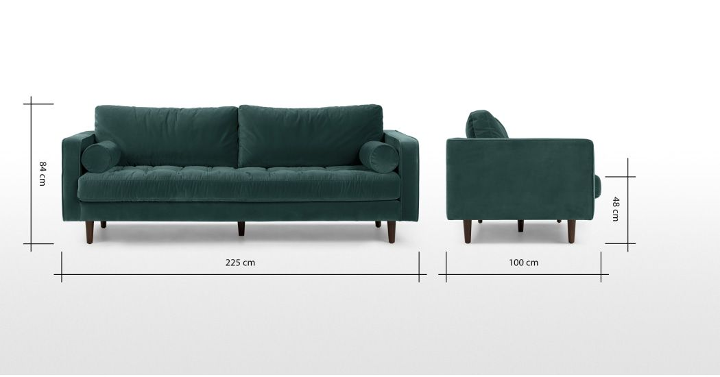 Scott 3 Sitzer Sofa Samt In Petrolgrun Made Com 3 Seater Sofa Seater Sofa Sofa Design