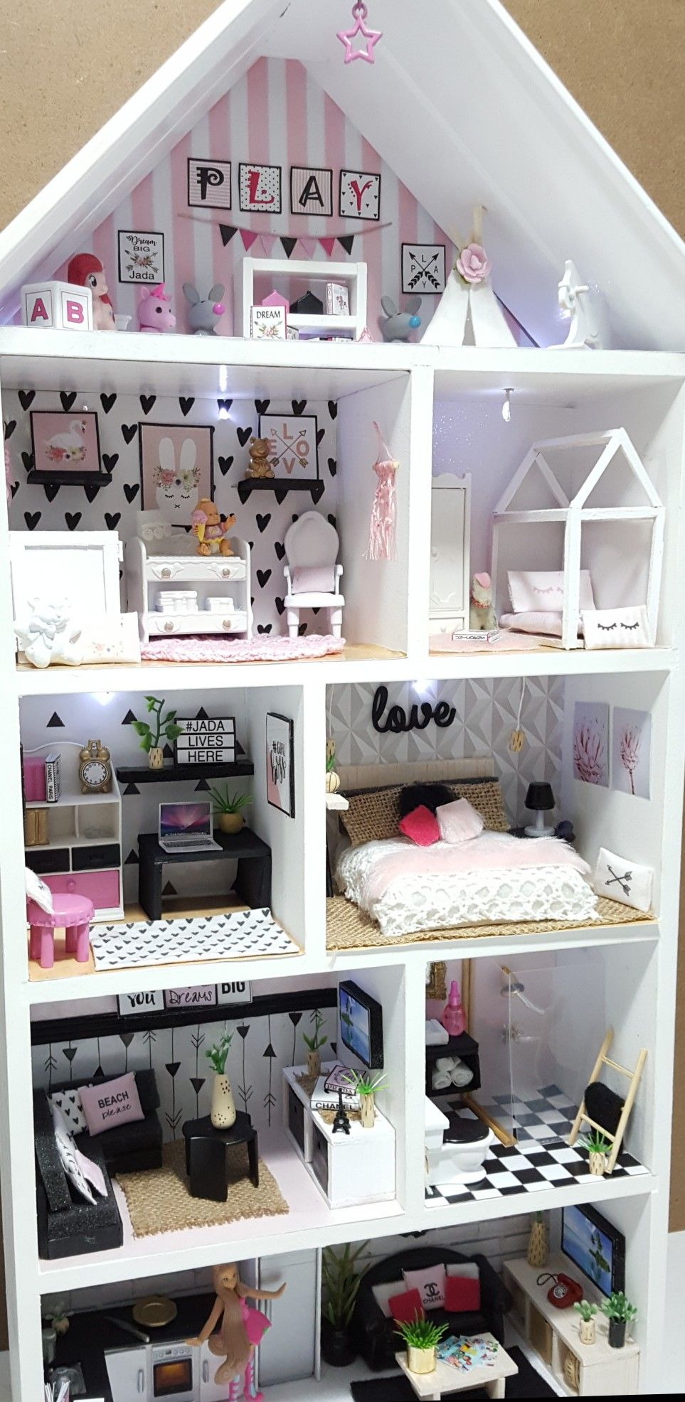 Kmart Dollhouse Hack Using The Wall Shelf Had Fun Making Miniature Furniture Decorating This Doll House Plans Dolls House Interiors Diy Dollhouse Furniture