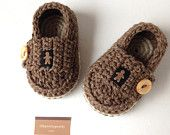 Crochet baby booties little loafers navy and by Ohprettypretty