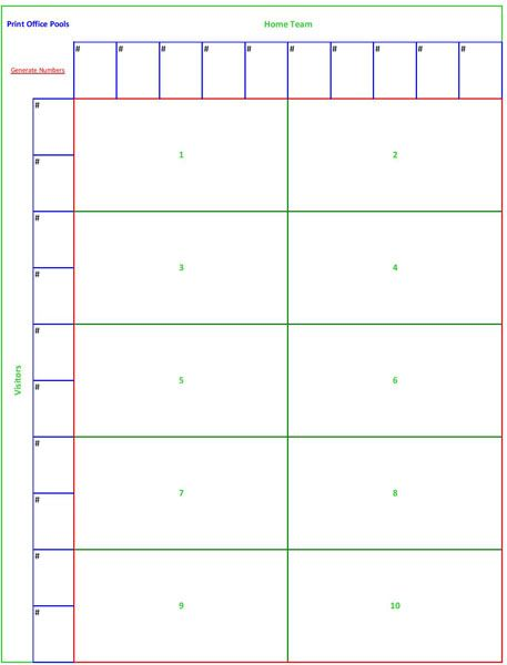 Printable 10 square football pool sheet template games Pinterest - football pool template