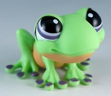 Littlest Pet Shop Frog #1091 Green With Purple Eyes
