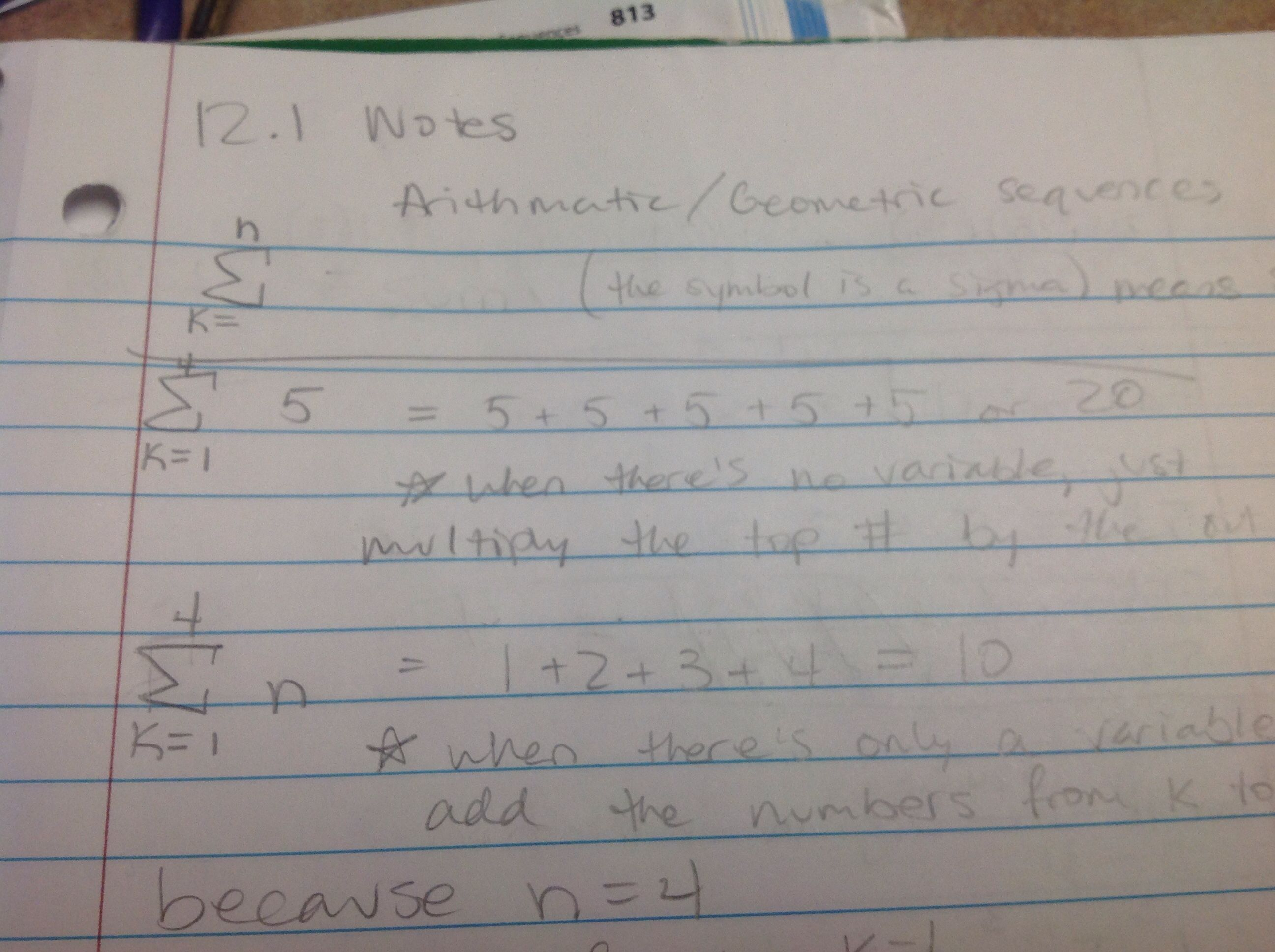Arithmetic sequences notes 1