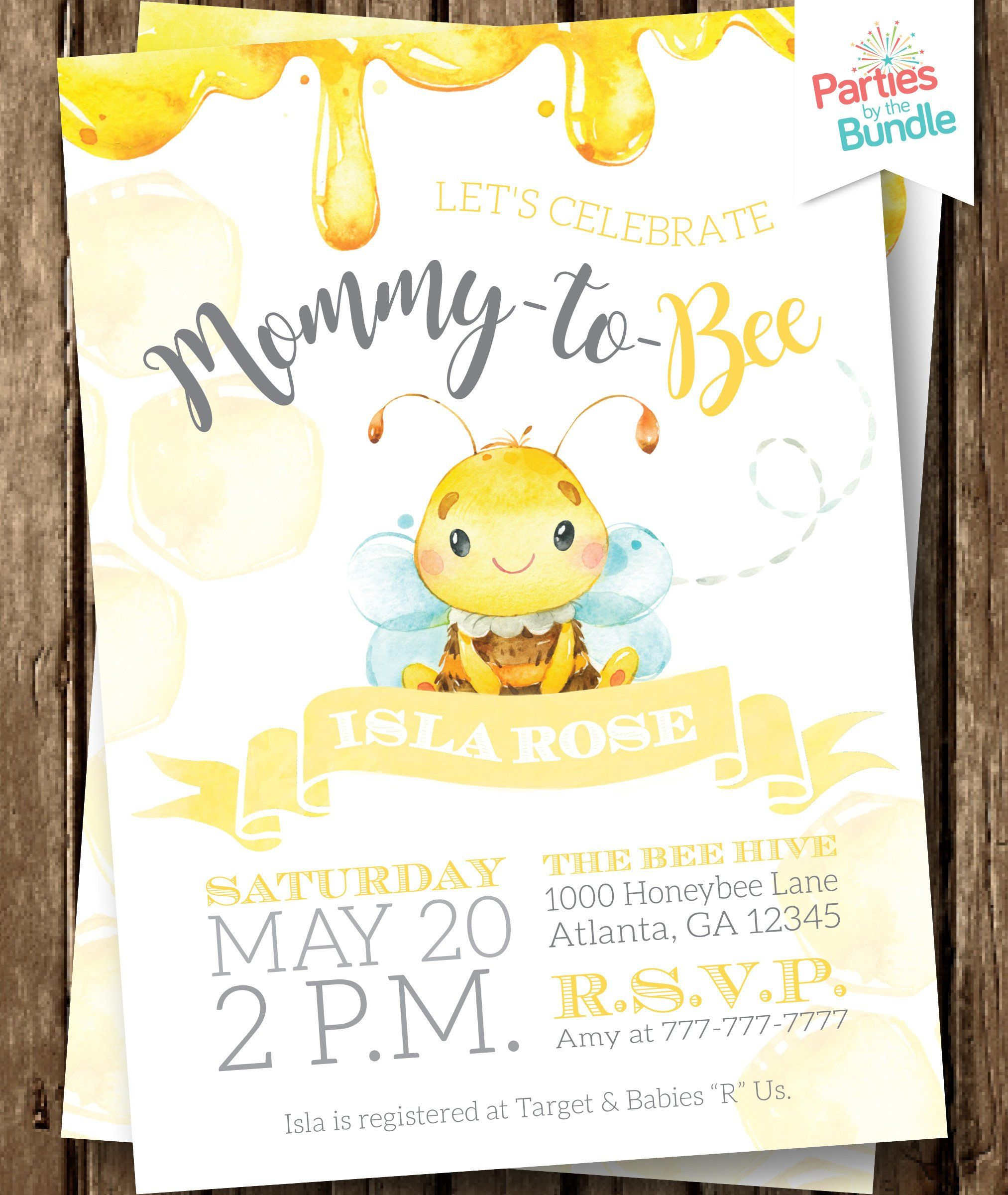 Bee invitation baby to bee bee invite bee baby shower