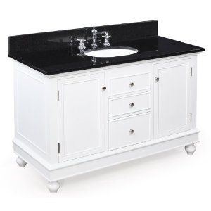 Is The Black Granite Too Much For A Small Bathroom 48 Inch Bathroom Vanity Bathroom Vanity Black Granite Countertops