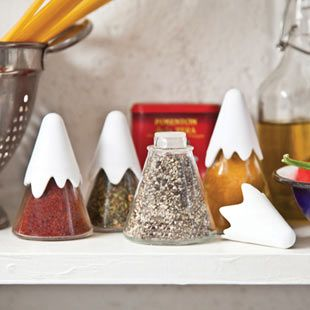 Himalaya - Set of 4 spice containers in different sizes.  Made of glass, shaped as a mountain range. $27.99