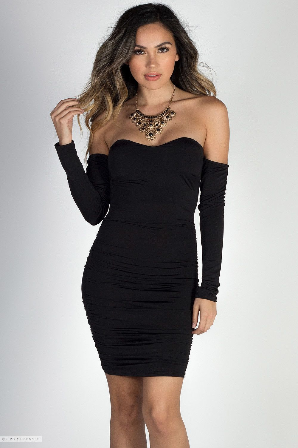 Long Sleeve Sweetheart Dress