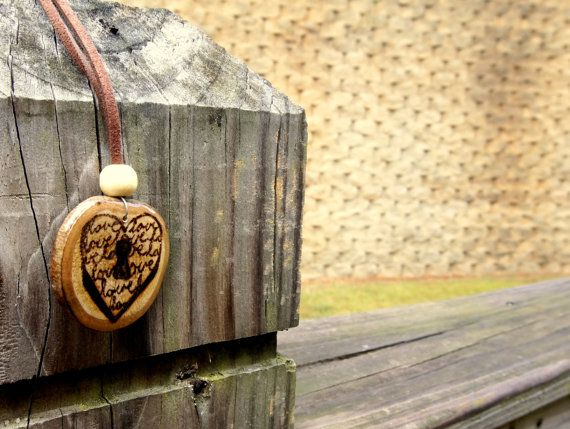 Heart and Lock Wood Burned Pendant Love Script by LadyDryad