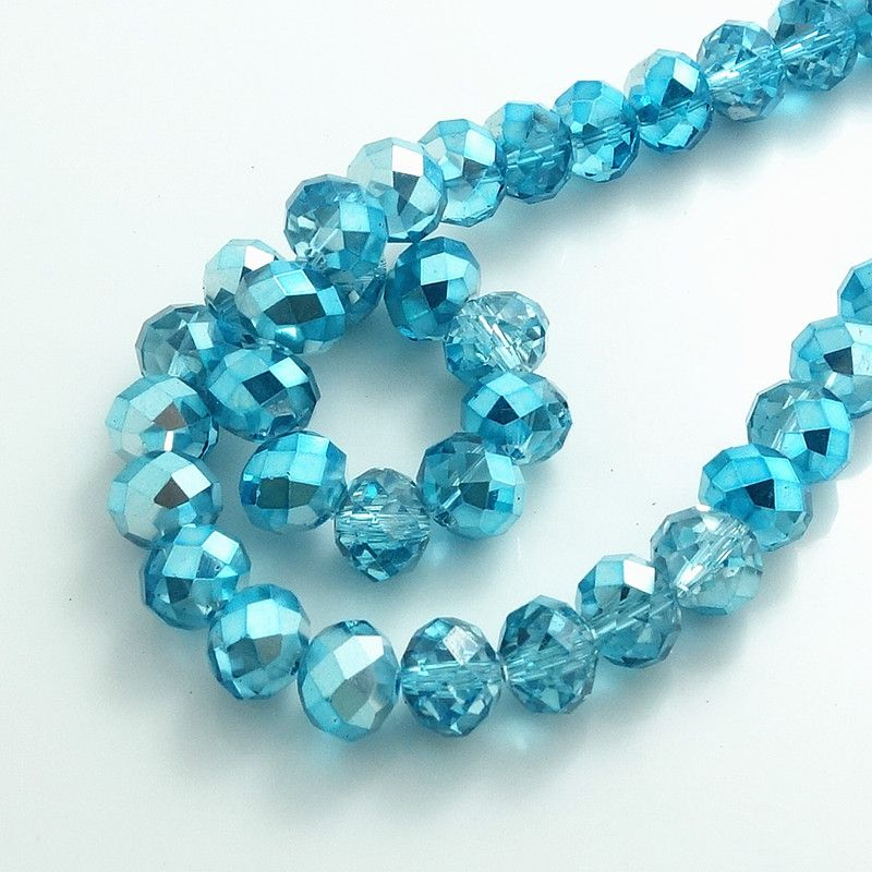 Wholesale Faceted Crystal Loose Charm Glass Beads Blue AB 6*8mm 70pc