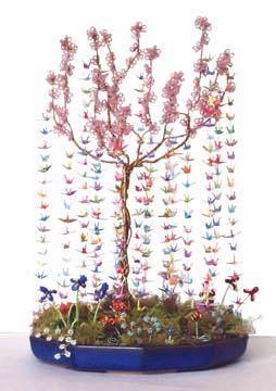Tiny Gestures 250 Cranes French Wire Beaded Cherry Blossom Tree Flowers At Base Size Height 10 Inches