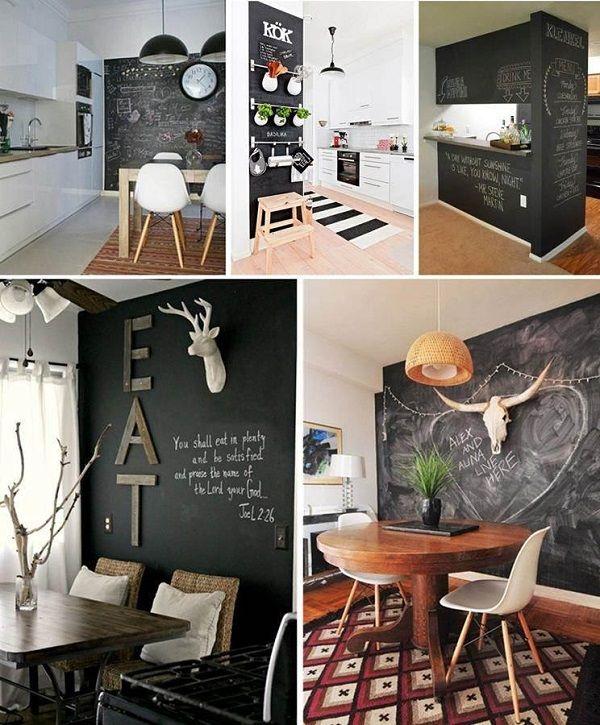 Tiza en la pared d nde utilizar la pintura de pizarra - Pizarras de cocina ...