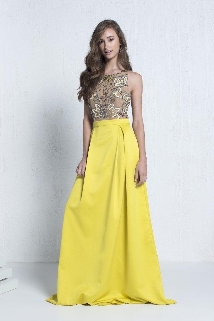 3fdfb4c1e Yellow Flower - Vestido longo em cetim com busto em tule bordado.#euamoSNM #