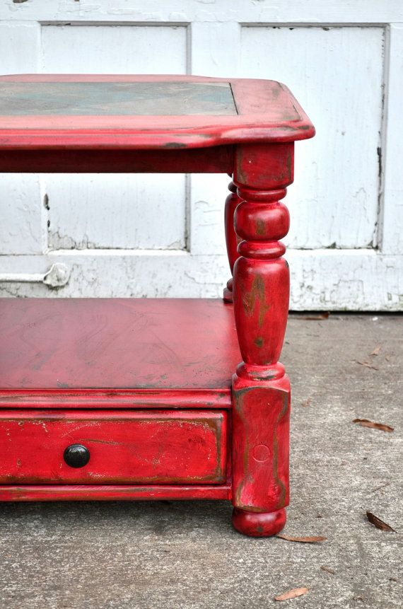 Painted Furniture Rustic Furniture Distressed Furniture Barn Red Sidetable  Endtable Hand Painted Harlequin Design Country Farmhouse Table