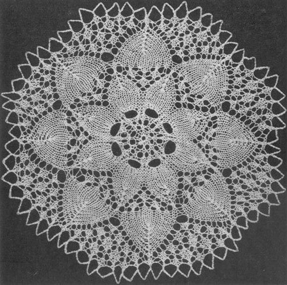 1951 Sunflower Doily Vintage Knitting Pattern Instant ...
