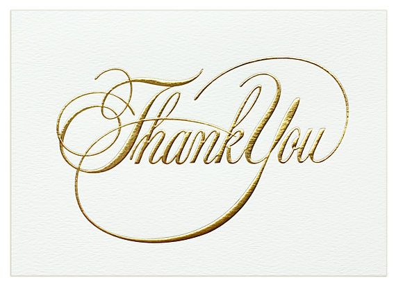 Thank you card set - Gold thank you cards - wedding thank you - business thank you note