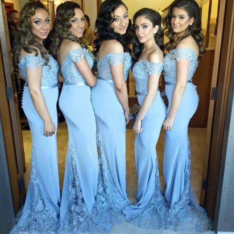 db232d592d Blue Bridesmaid Dresses Mermaid Bride Gowns Transparent Lace Tail Wedding  Guest Dresses Maid Of Honor Dress Vestido De Festa