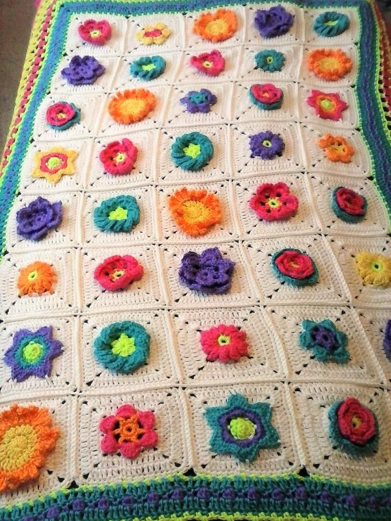 Bright and Colorful Flower Blanket 3 Dimensional Flower Blanket Meadow Mystery Throw Floral Patchwork Throw Multi Color Garden Throw