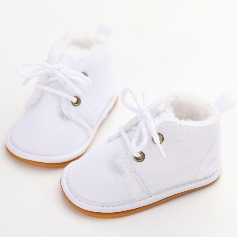 Baby Boys White Oxford Crib Shoes Lace Up with Perforations Prewalker