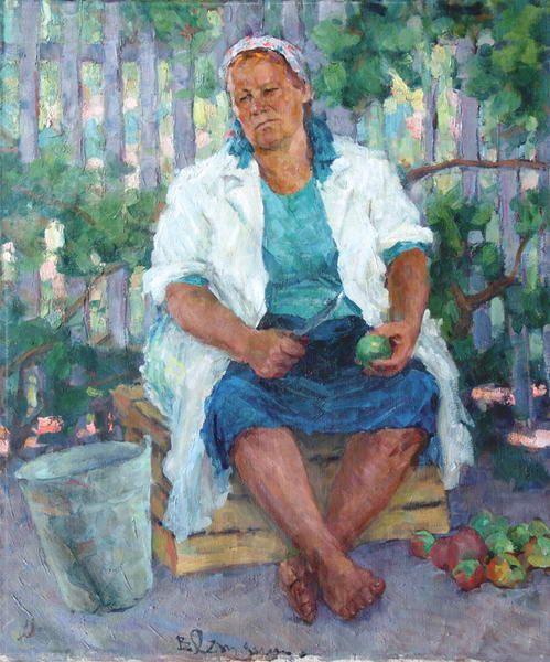 """Летянин В.Ф. """"Женщина с яблоками."""" : 1972 г."""