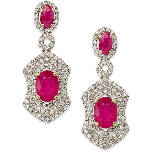 Ruby (2-3/8 ct. t.w.) and Diamond (3/4 ct. t.w.) Drop Earrings in 14k Gold