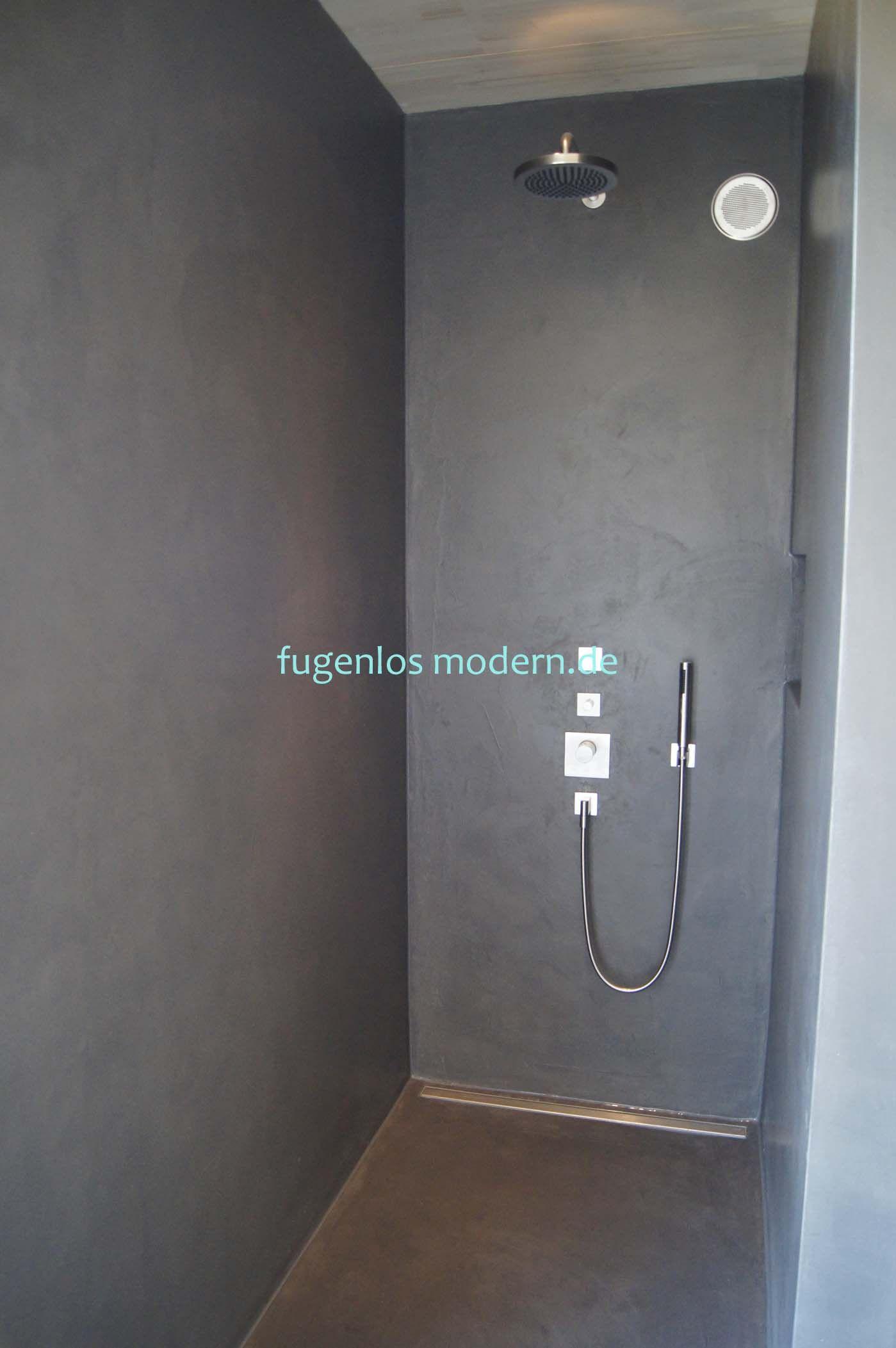Dusche Ohne Fugen Aus Zement Gespachtelt In Farbton Lava By Fugenlos Modern De Moderne Dusche Badezimmer Fliesen Beton Badezimmer