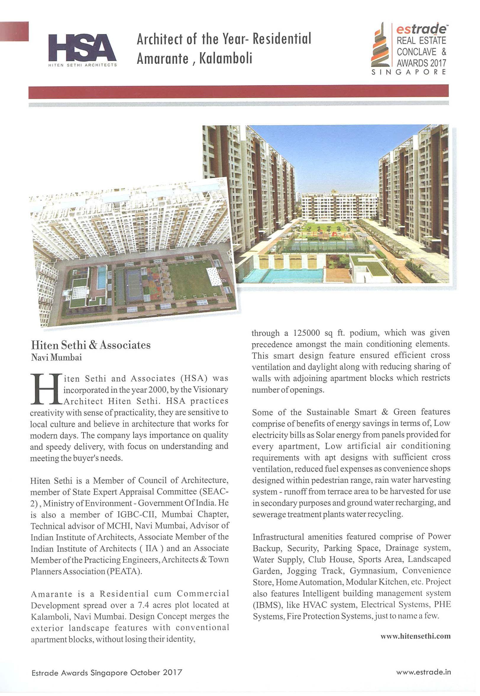 Architect Of the Year - Residential Amarante, Kalamboli