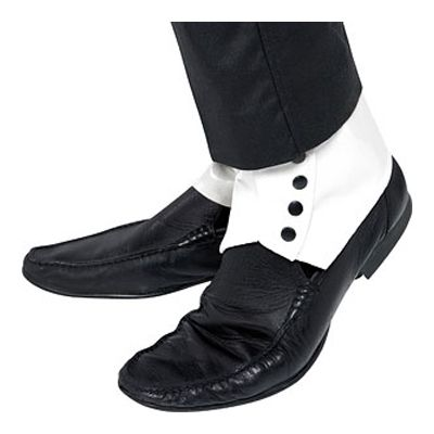 White Spats Gangster Mobster 20s Mafia Capone Fancy Dress Shoe Accessory
