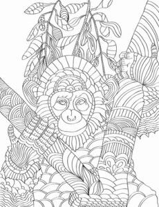 Download this free beautiful Chimpanzee adult coloring page Free