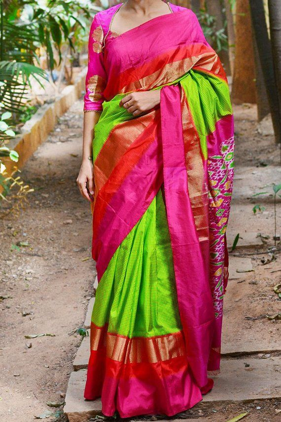 6b3b6c644ef4ab Pochampally Parrot Green small checked with rani pink border silk saree