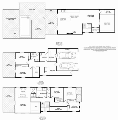 Floor Plan 2 Storey Void At Entrance Of Home With Bright Red Door Large Glass Sliding Doors Lead From Kitchen And Living Area Out To Open Plan Patio Area Wi