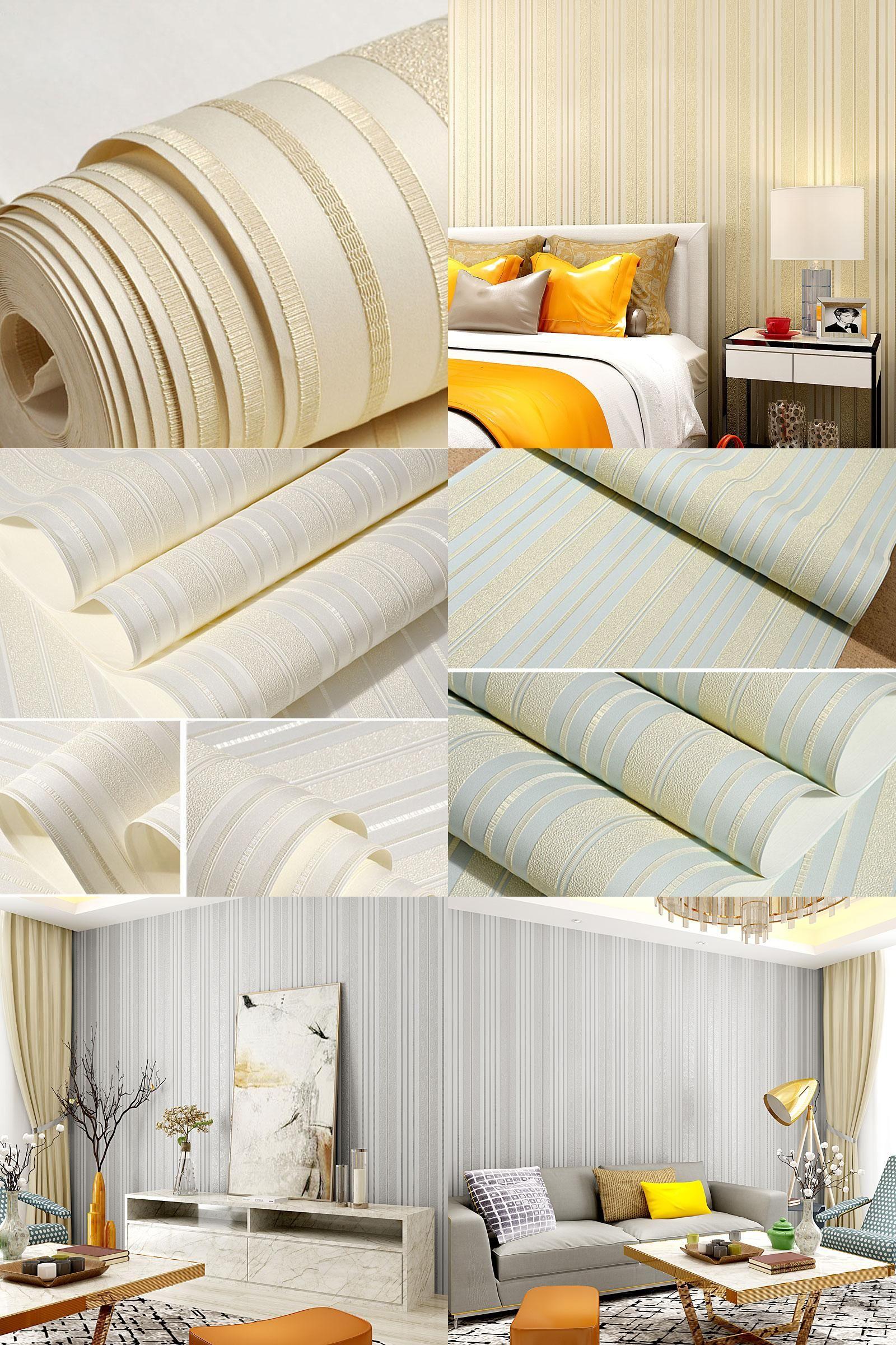[Visit to Buy] Vertical Stripe Wallpaper Roll Pink Creamy