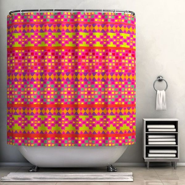 Shower Curtain Trends: Neon Colors Brighten Small Bathroom Space ...
