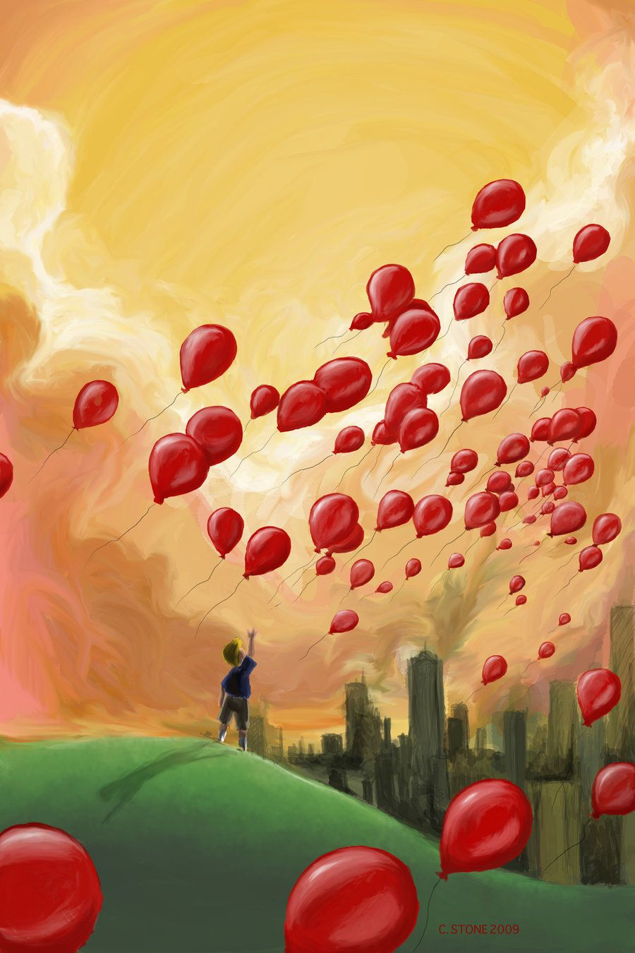 99 Red Balloons By Helenasun Deviantart Com On Deviantart Balloon Painting Red Balloon Balloon Art