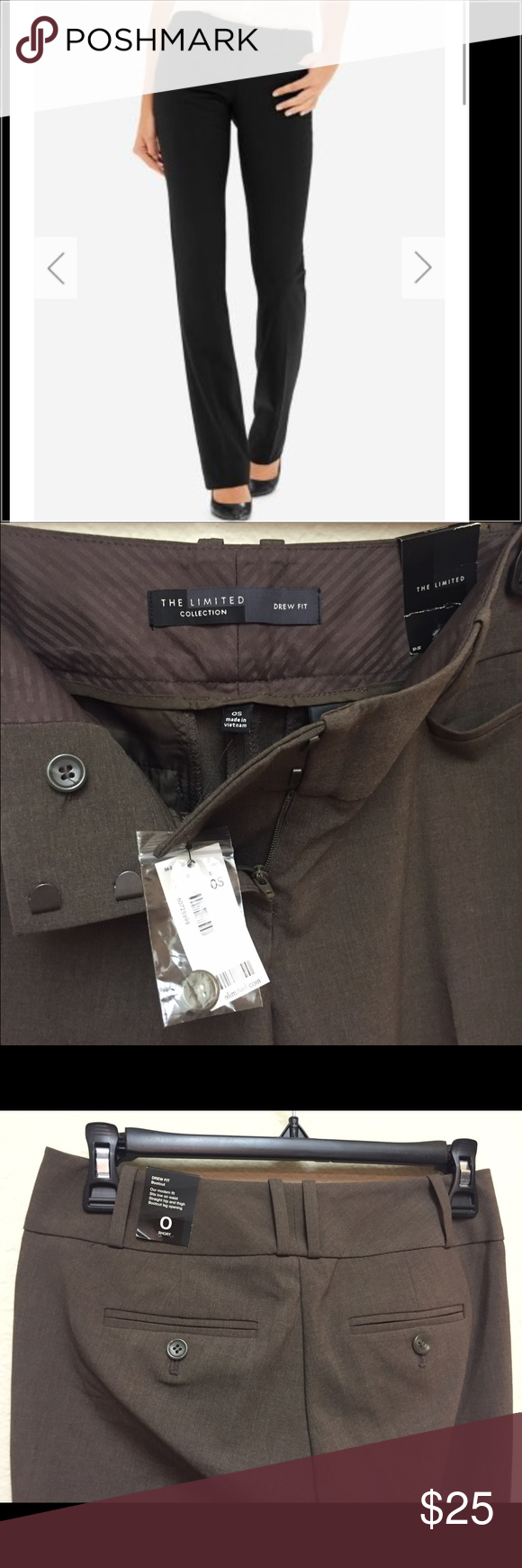The limited drew fit 0 short Brand new with tags ... brownish gray The Limited Pants Straight Leg