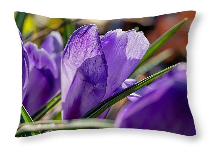 #lilac crocus print on throw pillow for sale