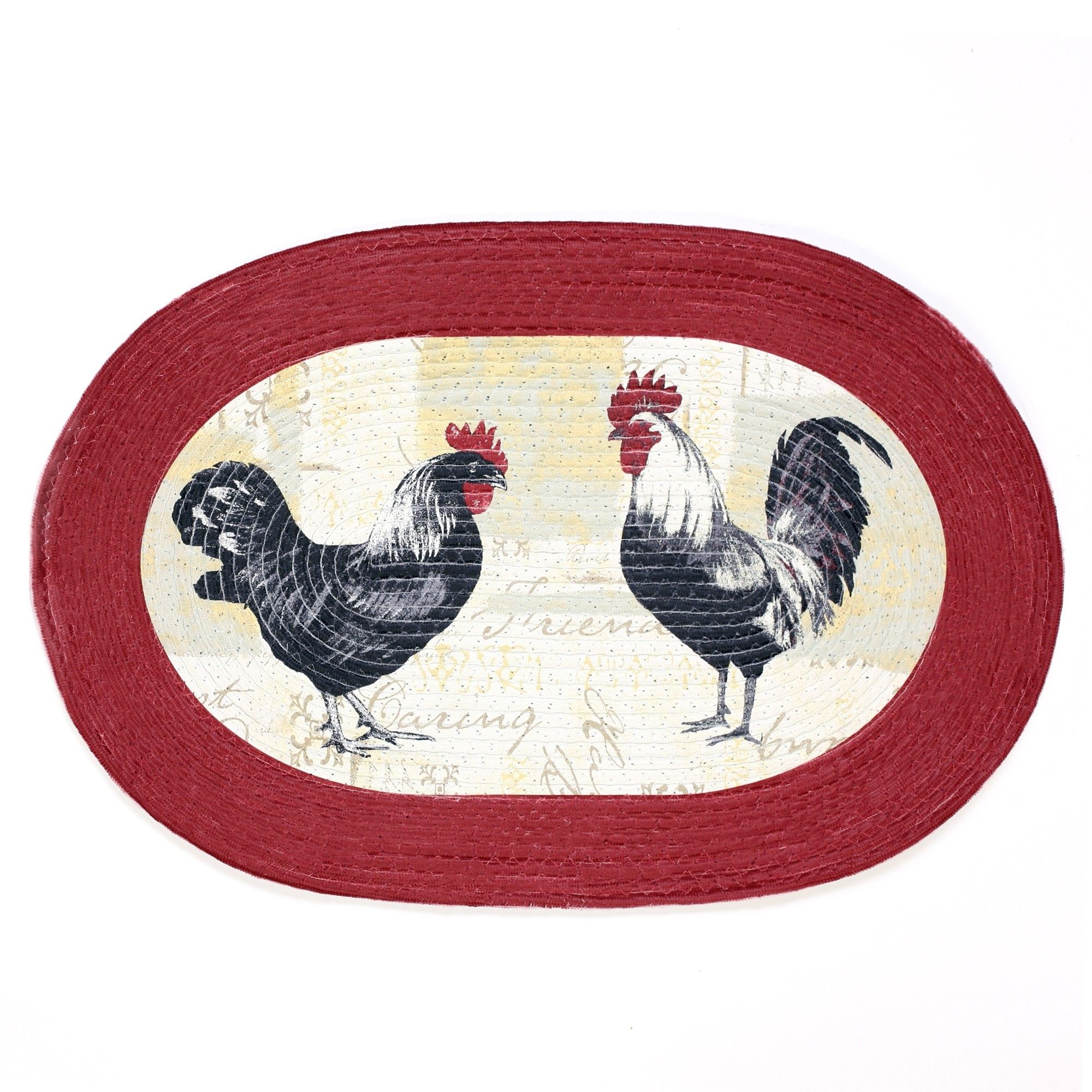 Braided rooster and hen area rug Vibrant red black white and