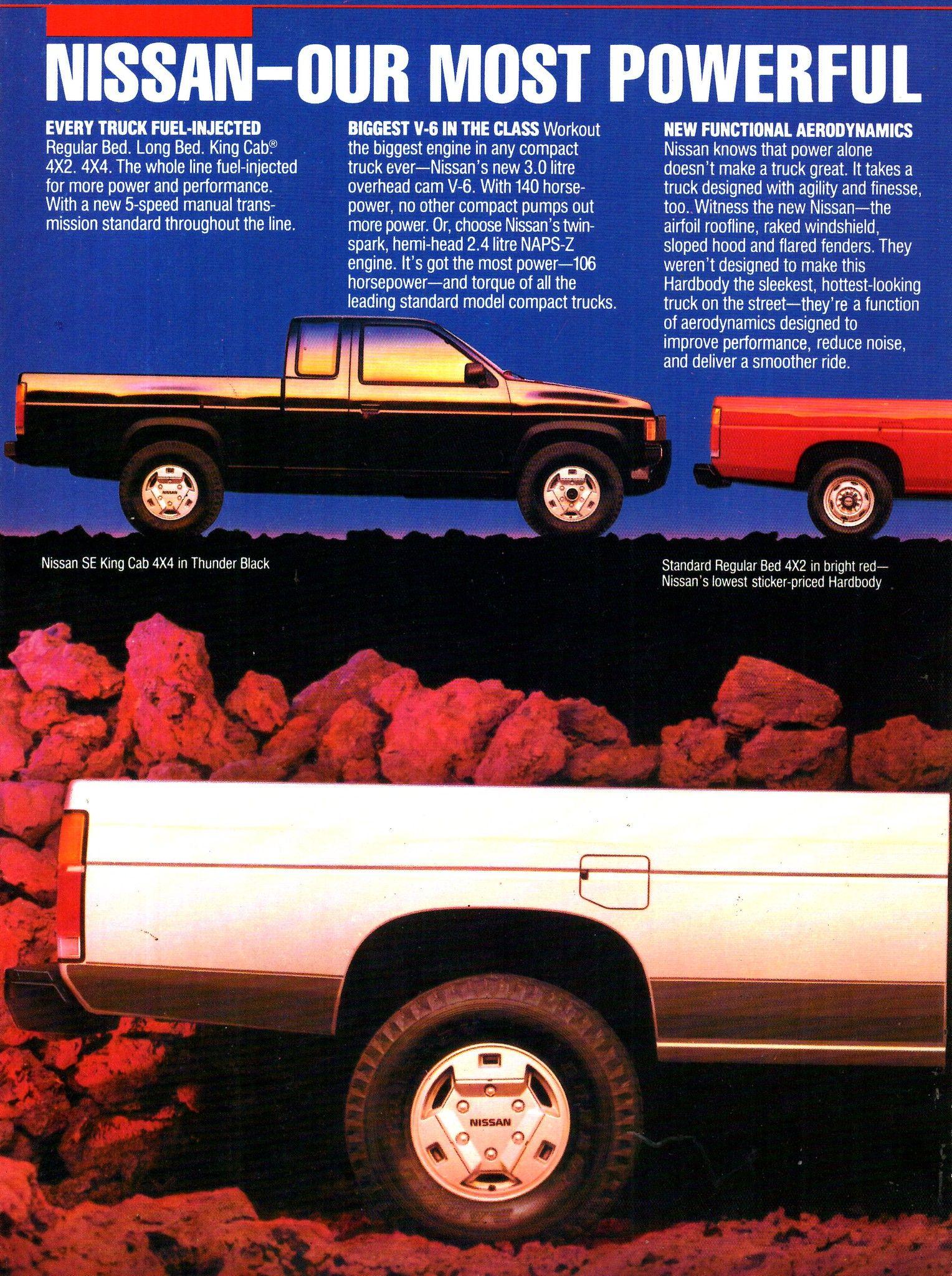 1986 Nissan Hardbodies Pickup Trucks Standaard Bed 4x2 Long Bed 4x2 King Cab 4x2 Regular Bed 4x4 Long Bed 4x4 King Cab 4x4 Page 4 Usa Original Magazine Advertis Nissan Terrano