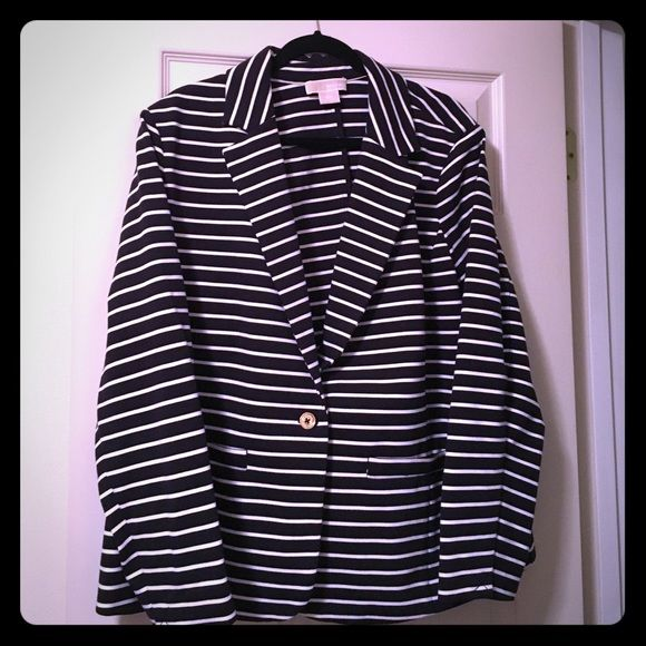 Michael Kors Blazer Navy and white striped blazer with gold detailing. Worn once. Size 18w Michael Kors Jackets & Coats Blazers