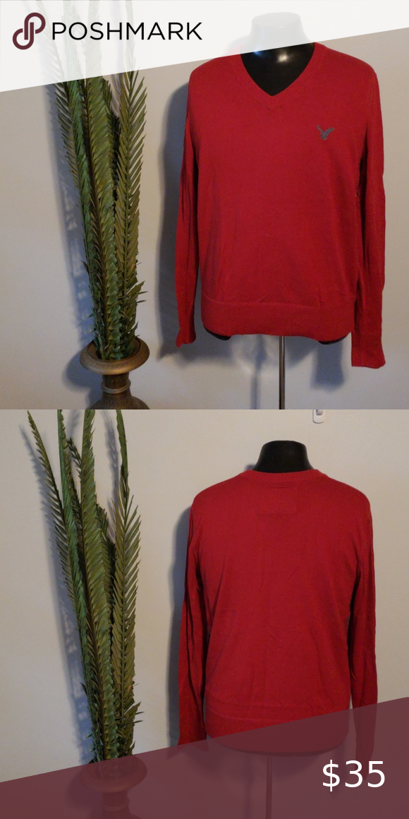 American Eagle long sleeve red v-neck sweater